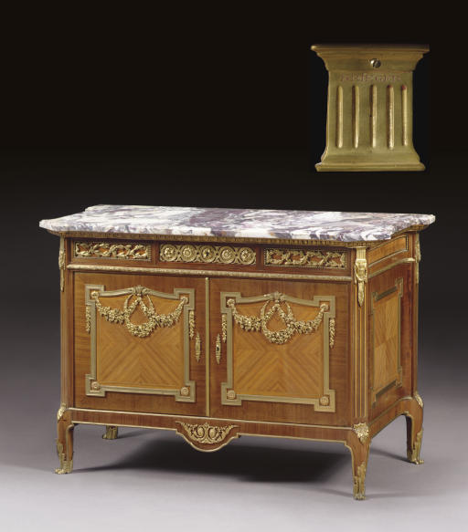 A FRENCH ORMOLU-MOUNTED MAHOGANY, TULIPWOOD AND PARQUETRY COMMODE A VANTAUX