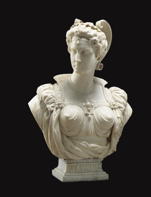 A FRENCH MARBLE BUST OF BIANCA