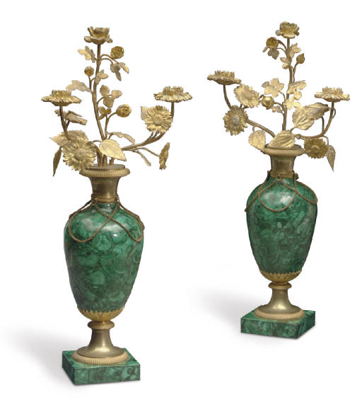 A PAIR OF FRENCH ORMOLU AND MA