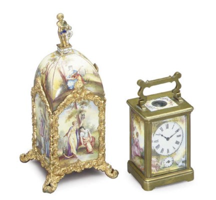 TWO VIENNESE GILT-METAL AND EN