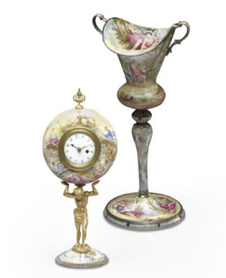 A VIENNESE ENAMEL GOBLET AND F