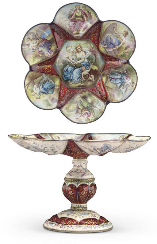 A VIENNESE SILVER AND ENAMEL C