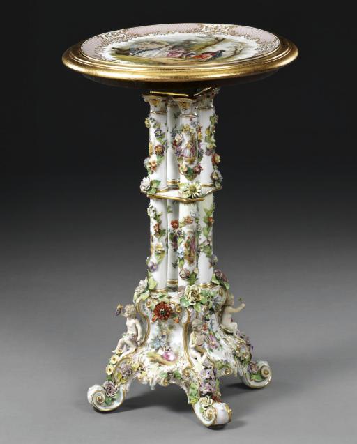 AN ASSEMBLED POTSCHAPPEL (CARL THIEME) FLOWER-ENCRUSTED SIDE TABLE