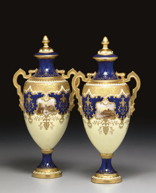 A PAIR OF COALPORT PALE-YELLOW