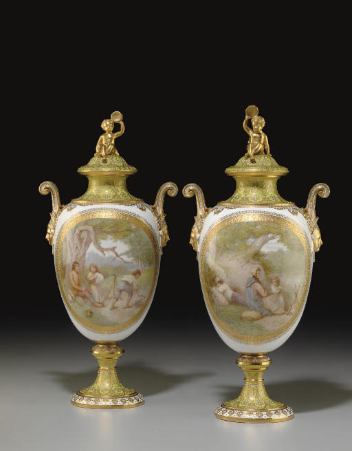 A PAIR OF COPELAND 'JEWELED' APPLE-GREEN GROUND VASES AND COVERS