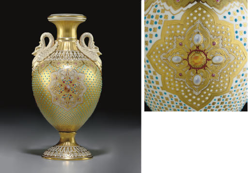 A COALPORT 'JEWELED' GOLD-GROU