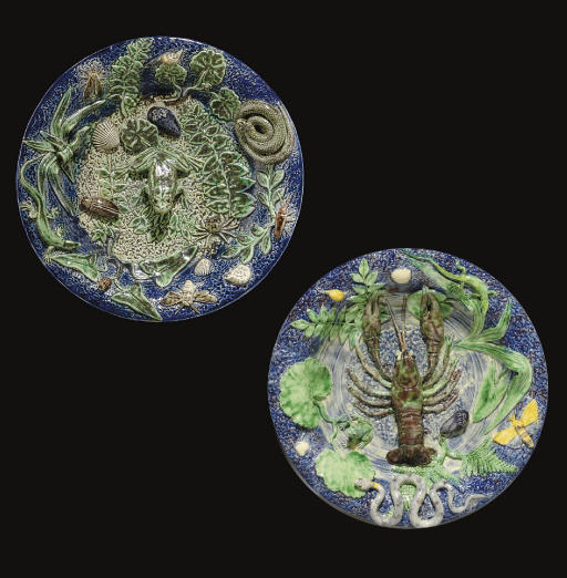 TWO FRENCH PALISSY STYLE TROMP