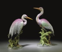 A PAIR OF POTSCHAPPEL (CARL THIEME) MODELS OF HERONS