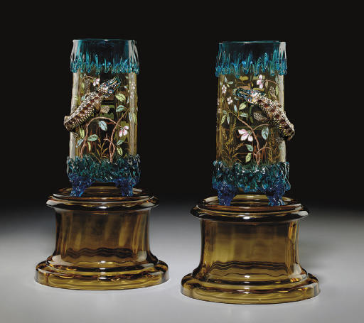 A PAIR OF FRENCH CERULEAN AND