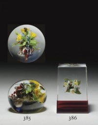 A PAUL STANKARD BOTANICAL BOUQUET, INSECT, AND 'EARTH SPIRIT' UPRIGHT WEIGHT