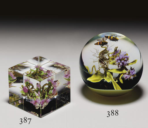 A PAUL STANKARD BOTANICAL BOUQUET AND INSECT CUBE WEIGHT