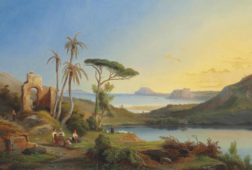 Vue du Cap Misène et du Lac d'Averne (près de Naples)