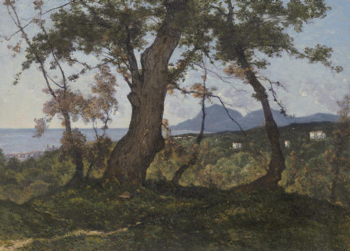 A Wooded Landscape with a View of the Mediterranean Sea beyond