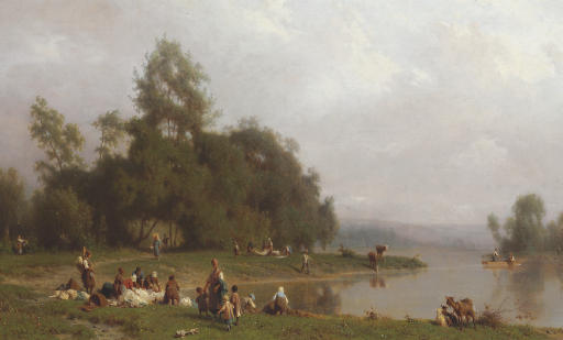 Washerwomen by a Riverbank