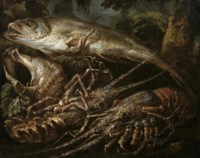 Still-life of two lobsters, a salmon and shells on a forest floor