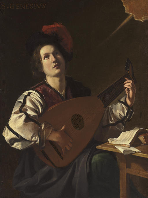 A musician, identified as Saint Genesius, playing a lute
