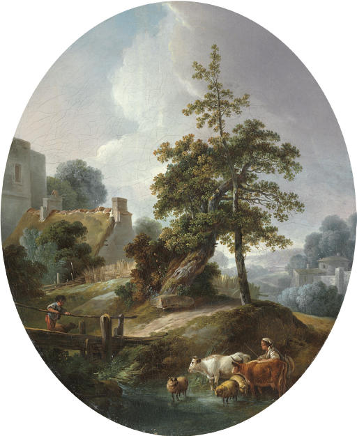 Landscape with a young boy and a shepherdess with cows and sheep