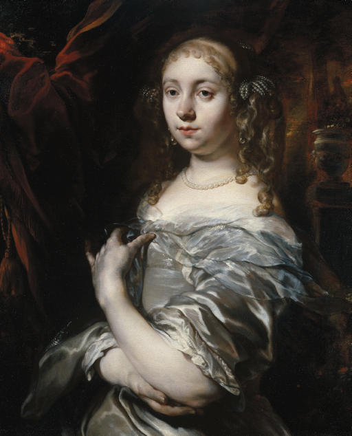 Portrait of a lady, half-length, wearing pearls and a grey satin gown with a blue shawl, an ornamental garden beyond