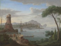 A capriccio of a coastal town with figures at a viewing point in the foreground