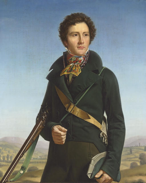 Portrait of a gentleman, identified as Jean-André Prosper Henri Le Page, three-quarter-length, in a green jacket and carrying a rifle, in a landscape