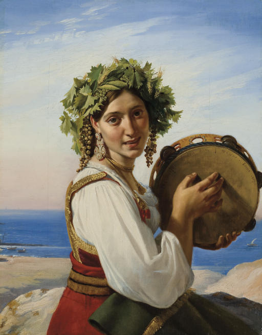A young woman with a tambourine in Ischia ('Le tambour de basque')