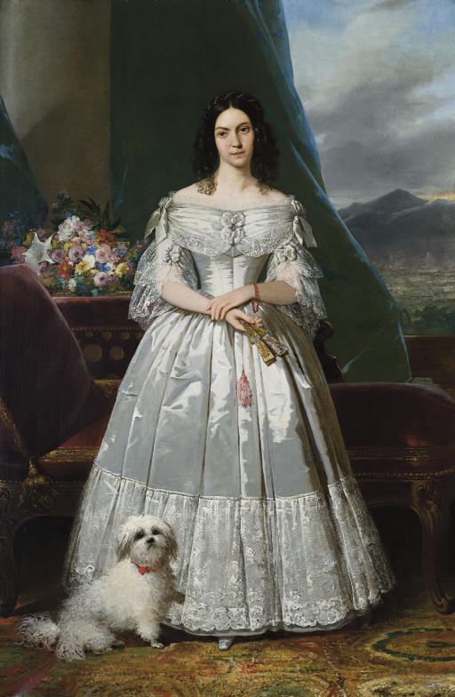 Portrait of a woman with a fan and a dog