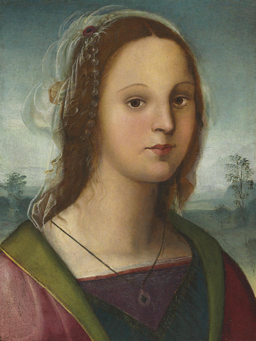 Portrait of a young lady, bust-length, with a pearl headdress, a landscape beyond