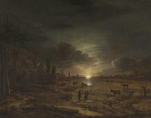 A nocturnal river landscape with figures