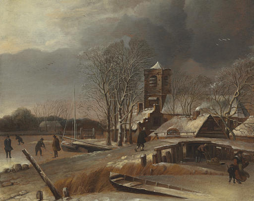 Winter landscape with skaters on a frozen canal