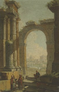 Figures in oriental costume standing in classical ruins, the Castel Sant'Angelo and the Dome of Saint Peter's beyond