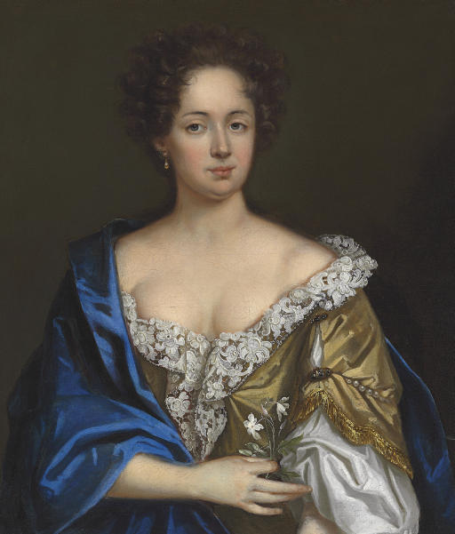 Portrait of a lady, half-length, in a yellow dress and blue shawl