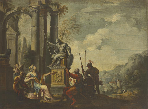 Artemisia toasting the statue of her dead husband Mausolus with wine mixed with his ashes