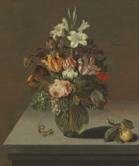 Roses, tulips, lilies and other flowers in a glass vase on a stone ledge, with a butterfly, a caterpillar, flies and other insects, and a lizard