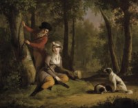 An elegant couple out hunting with their dogs