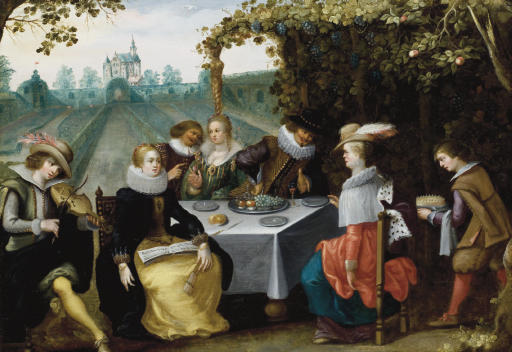 An elegant company dining in a garden