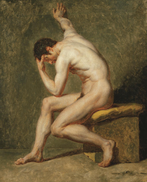 A seated male nude in contrapposto