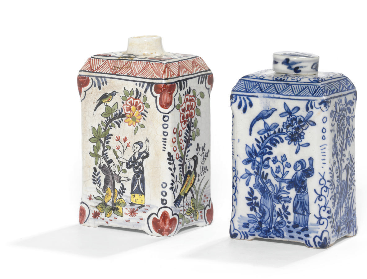 TWO DUTCH DELFT TEA CANISTERS