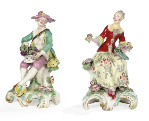 TWO CHELSEA FIGURES EMBLEMATIC