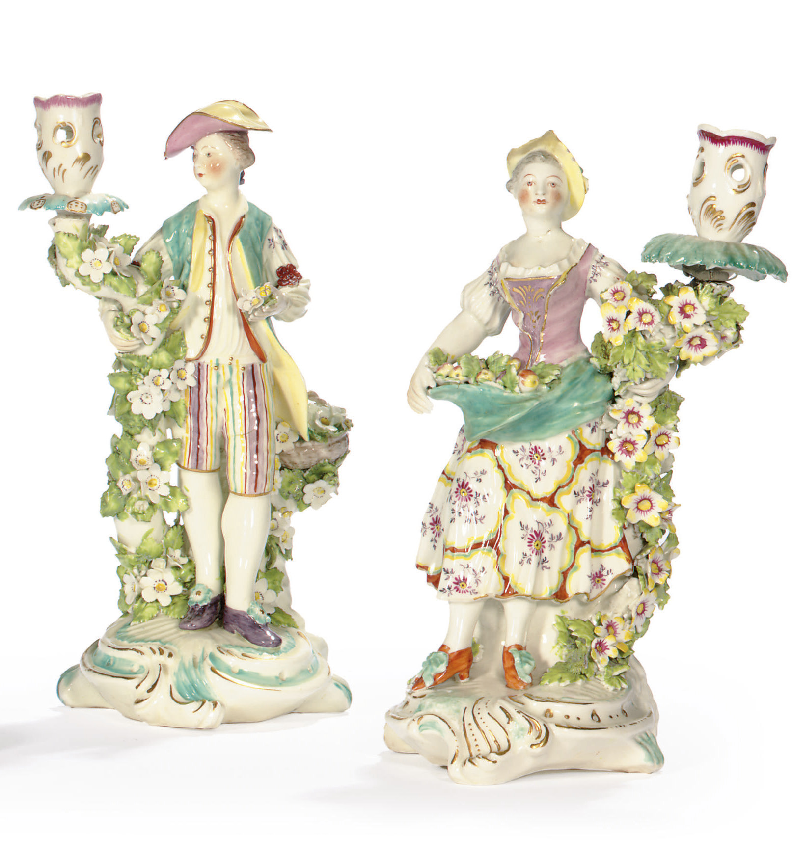 A PAIR OF DERBY BOCAGE CANDLES