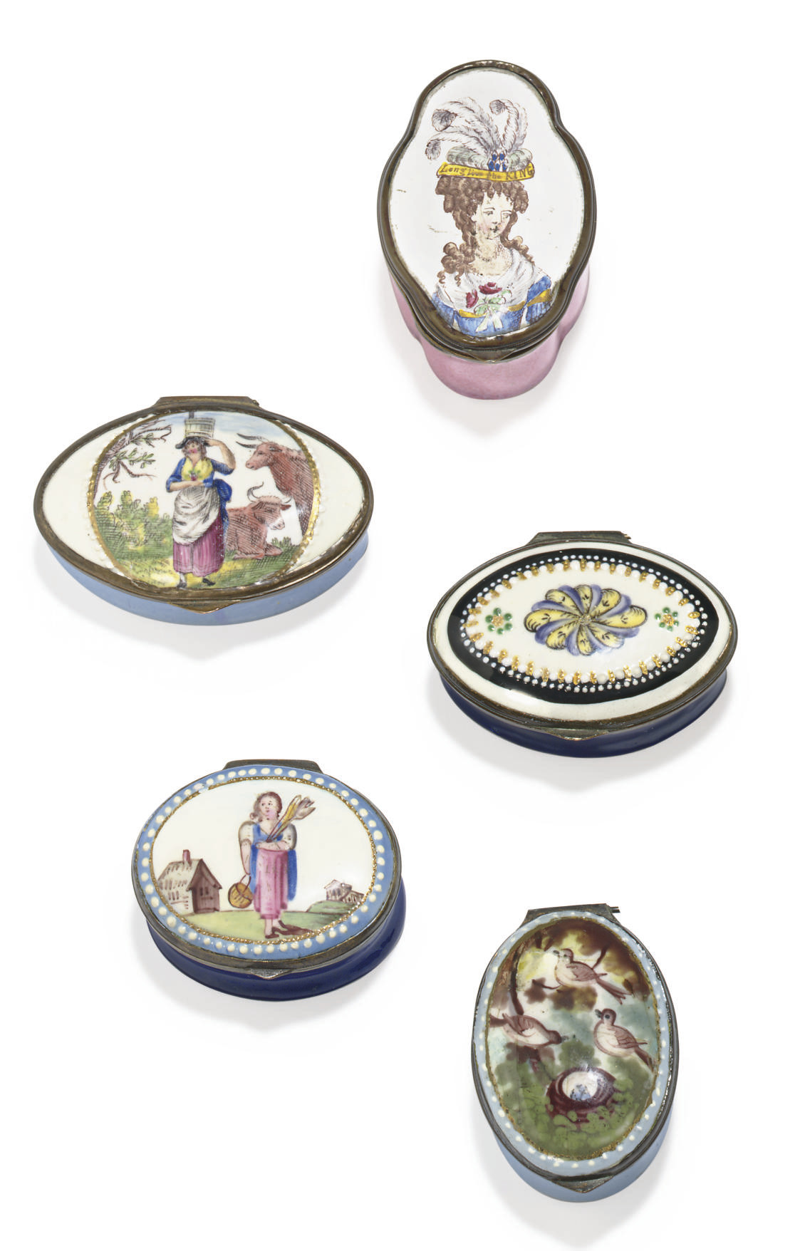 FIVE STAFFORDSHIRE ENAMEL PATC
