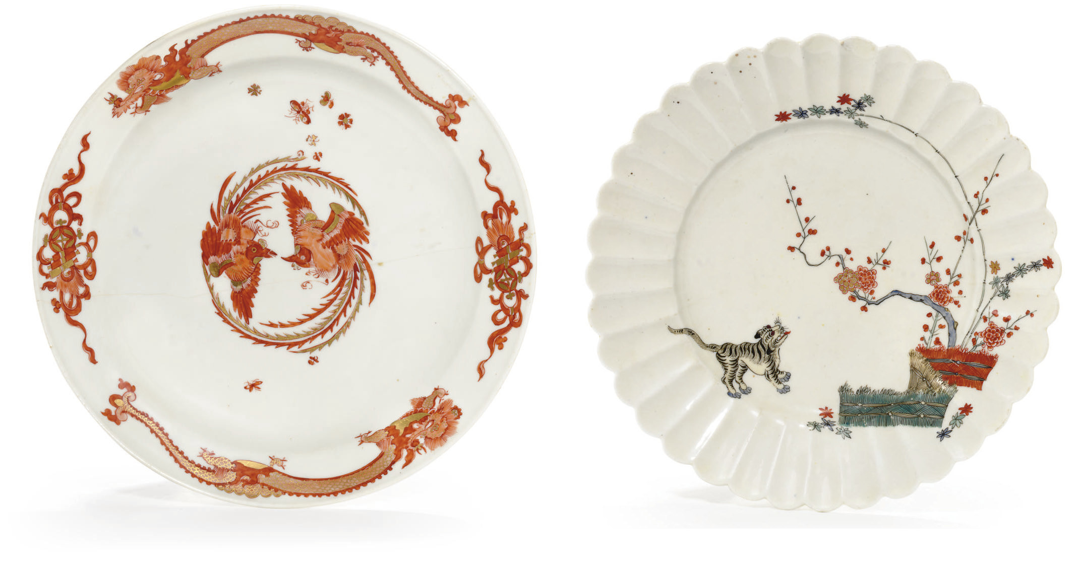 A MEISSEN PLATE AND AN ENGLISH