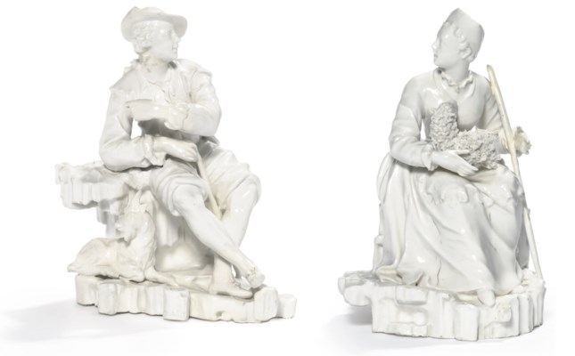 A PAIR OF NYMPHENBURG WHITE-GL