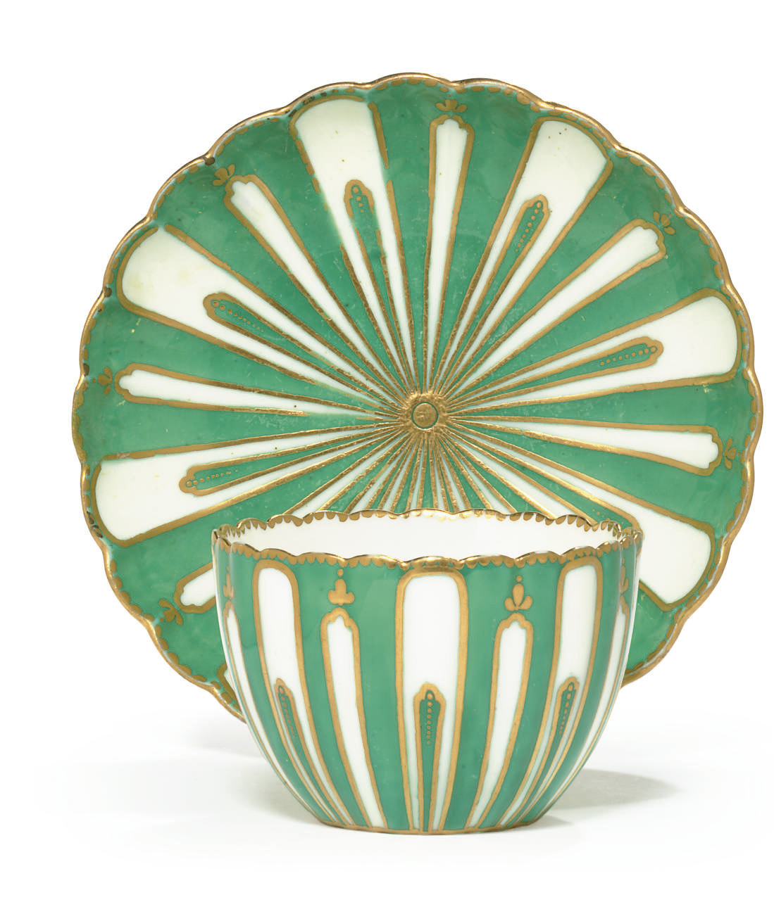A SEVRES GREEN-GROUND FLUTED T