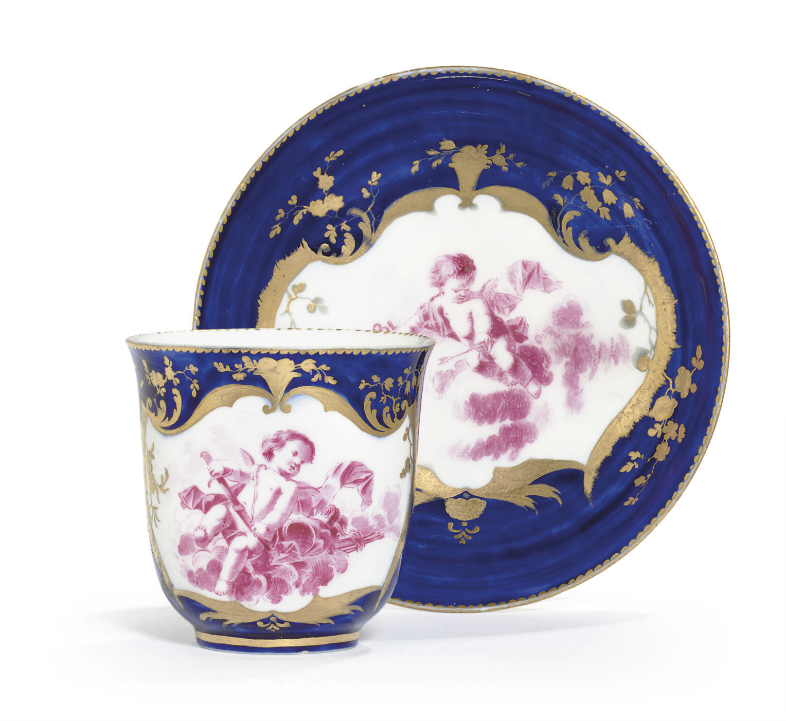 A VINCENNES BLEU LAPIS CUP AND