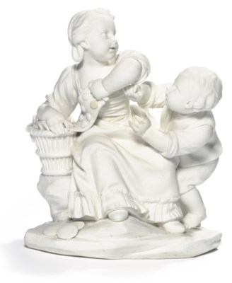 A SEVRES BISCUIT FIGURE GROUP