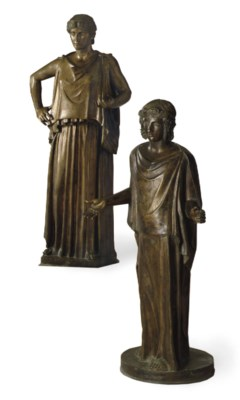 A PAIR OF LIFE-SIZE BRONZE FIG