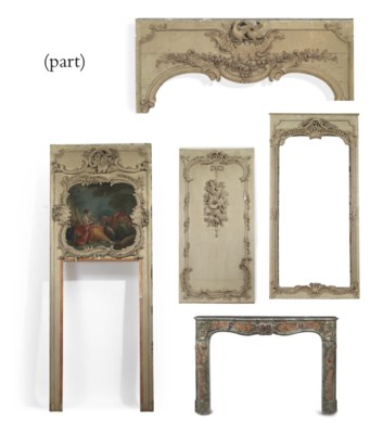 A LOUIS XV CREAM-PAINTED PANEL