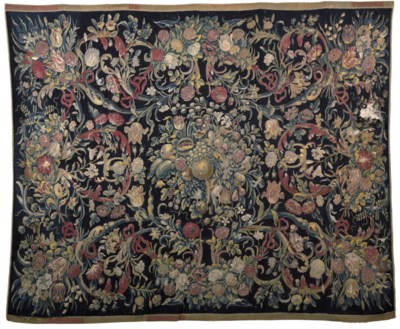 A DUTCH FLORAL TABLE TAPESTRY