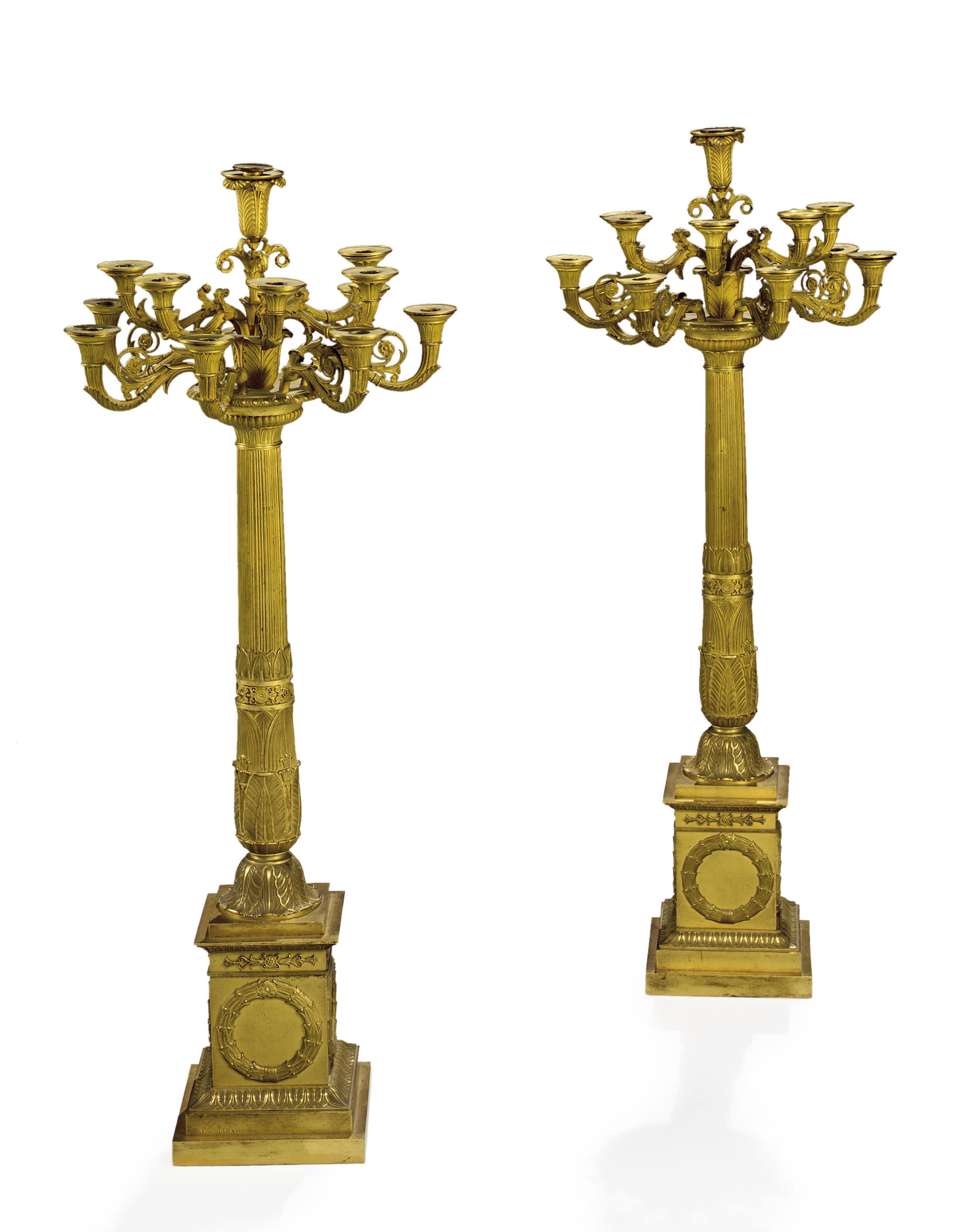 A PAIR OF EMPIRE ORMOLU TWELVE