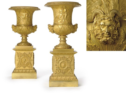 A PAIR OF CHARLES X ORMOLU URN